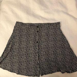 Black white floral skirt